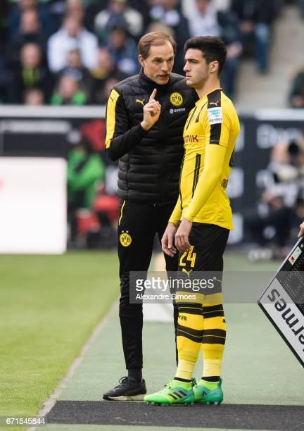 Thomas Tuchel head coach of Borussia Dortmund together with Mikel Merino during the Bundesliga match between Borussia Moenchengladbach and Borussia...