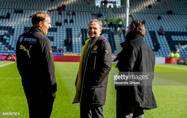 Thomas Tuchel head coach of Borussia Dortmund together with HansJoachim Watzke CEO of Borussia Dortmund prior to the Bundesliga match between SC...