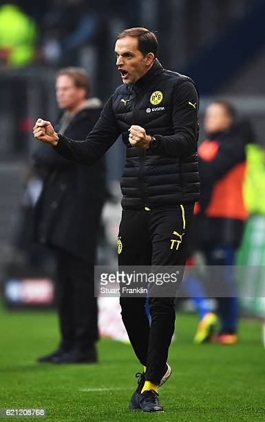Thomas Tuchel head coach of Dortmund celebrates during the Bundesliga match between Hamburger SV and Borussia Dortmund at Volksparkstadion on...