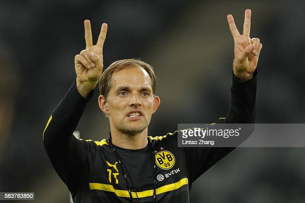 Thomas Tuchel head coach of Dortmund gestures during team training session for 2016 International Champions Cup match between Manchester City and...