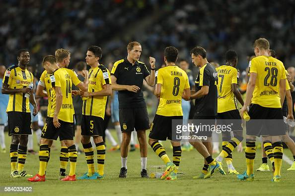 Thomas Tuchel head coach of Dortmund gestures during the 2016 International Champions Cup match between Manchester City and Borussia Dortmund at...