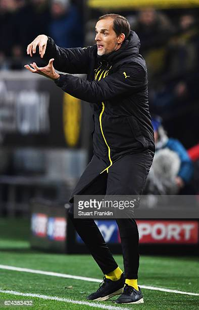 Thomas Tuchel head coach of Dortmund gestures during the Bundesliga match between Borussia Dortmund and Bayern Muenchen at Signal Iduna Park on...