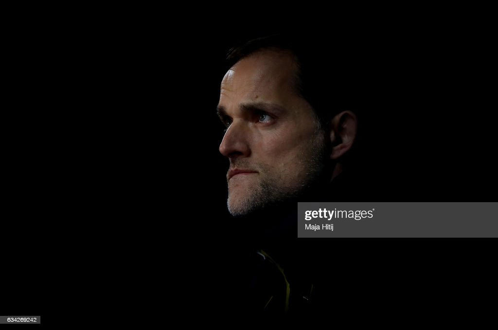 Thomas Tuchel, head coach of Dortmund looks on before the DFB Cup Round of 16 match between Borussia Dortmund and Hertha BSC at Signal Iduna Park on February 8, 2017 in Dortmund, Germany.