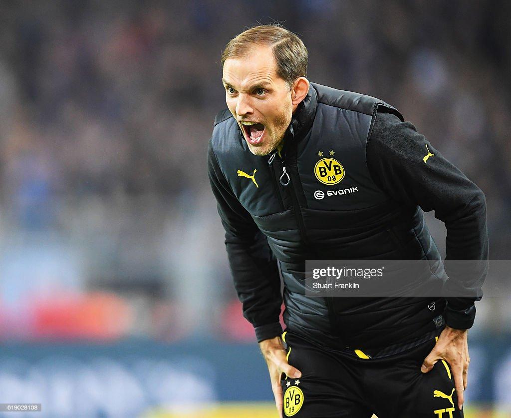 Thomas Tuchel, head coach of Dortmund reacts during the Bundesliga match between Borussia Dortmund and FC Schalke 04 at Signal Iduna Park on October 29, 2016 in Dortmund, Germany.