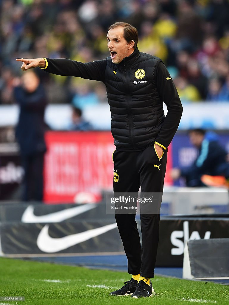 <a gi-track='captionPersonalityLinkClicked' href=/galleries/search?phrase=Thomas+Tuchel&family=editorial&specificpeople=5927236 ng-click='$event.stopPropagation()'>Thomas Tuchel</a>, head coach of Dortmund shouts during the Bundesliga match bewteen Hertha BSC and Borussia Dortmund at Olympiastadion on February 6, 2016 in Berlin, Germany.