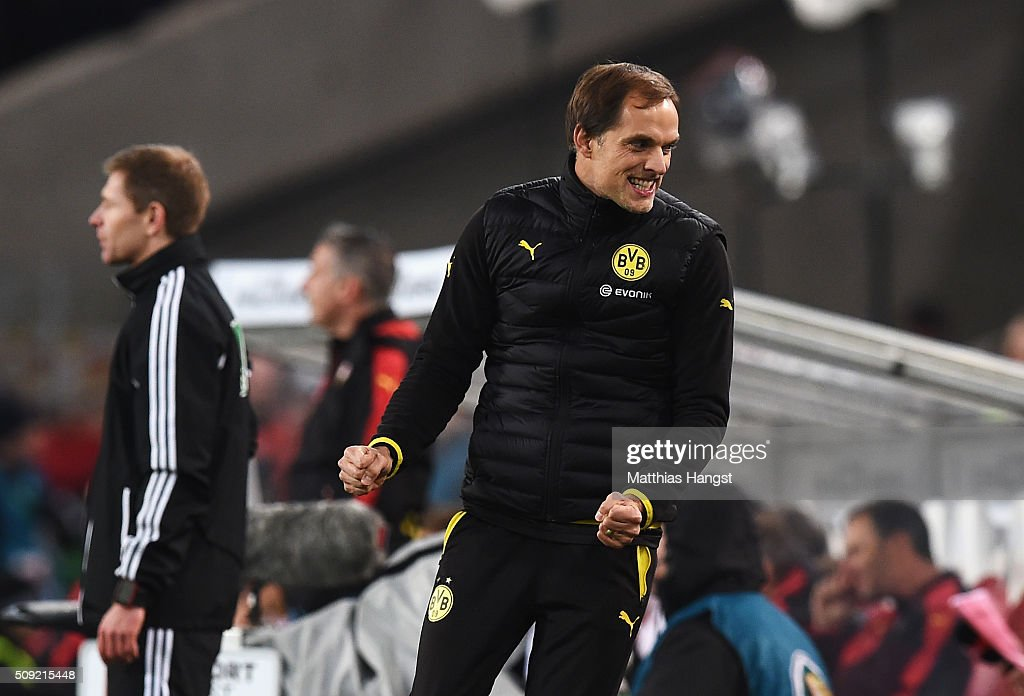 <a gi-track='captionPersonalityLinkClicked' href=/galleries/search?phrase=Thomas+Tuchel&family=editorial&specificpeople=5927236 ng-click='$event.stopPropagation()'>Thomas Tuchel</a> manager of Borussia Dortmund celebrates during the DFB Cup Quarter Final match between VfB Stuttgart and Borussia Dortmund at Mercedes-Benz Arena on February 9, 2016 in Stuttgart, Germany.