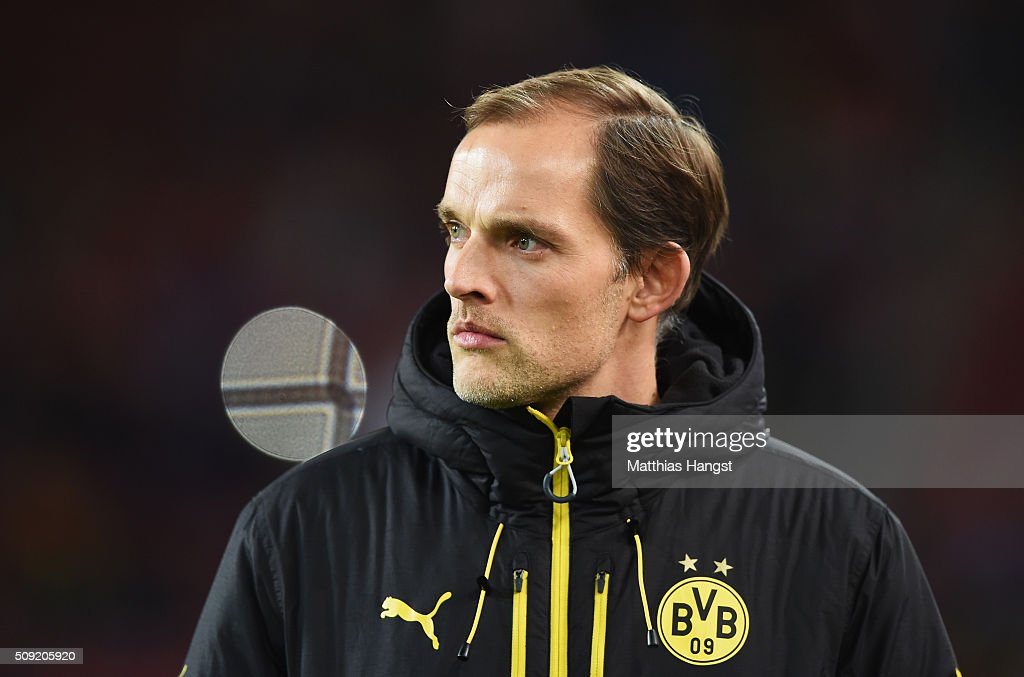 <a gi-track='captionPersonalityLinkClicked' href=/galleries/search?phrase=Thomas+Tuchel&family=editorial&specificpeople=5927236 ng-click='$event.stopPropagation()'>Thomas Tuchel</a> manager of Borussia Dortmund looks on prior to the DFB Cup Quarter Final match between VfB Stuttgart and Borussia Dortmund at Mercedes-Benz Arena on February 9, 2016 in Stuttgart, Germany.