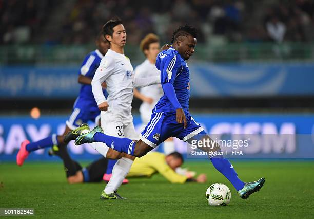 Thomas Ulimwegu of TP Mazembe fires in a shot during the the FIFA Club World Cup Quarter Final match between TP Mazembe and Sanfrecce Hiroshima at...