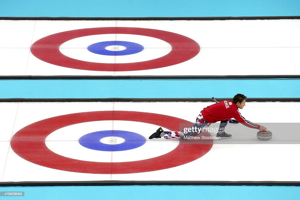 <a gi-track='captionPersonalityLinkClicked' href=/galleries/search?phrase=Thomas+Ulsrud&family=editorial&specificpeople=4691232 ng-click='$event.stopPropagation()'>Thomas Ulsrud</a> of Norway throws the rock while playing Great Britain during the Curling at Ice Cube Curling Center on day 11 of the 2014 Sochi Winter Olympics on February 18, 2014 in Sochi, Russia.