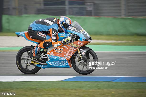 Thomas Van Leeuwen of Netherlands and 71Workxcom Racing Team heads down a straight during the MotoGP of Netherlands Qualifying at TT circuit on June...