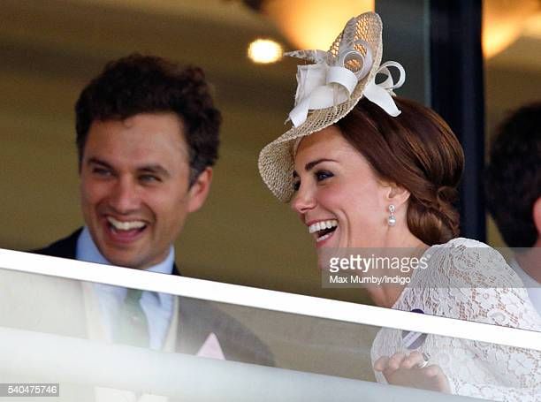 Thomas van Straubenzee and Catherine Duchess of Cambridge watch the racing as they attend day 2 of Royal Ascot at Ascot Racecourse on June 15 2016 in...