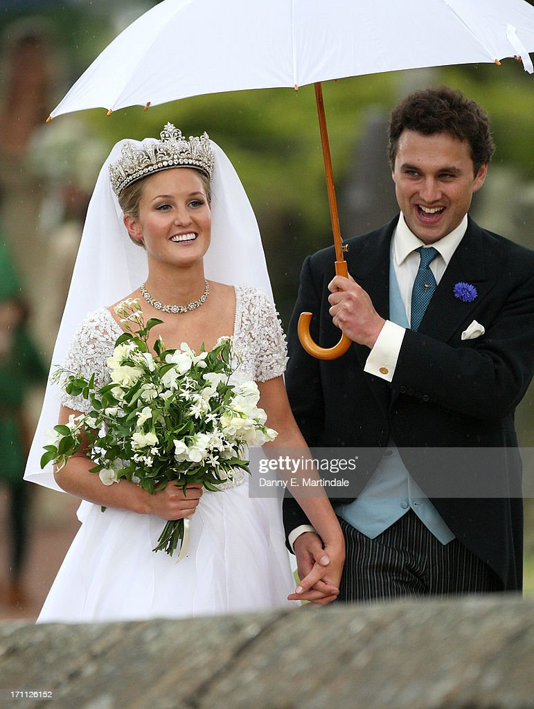Thomas van Straubenzee and Lady Melissa Percy during their wedding at Alnwick Castle on June 22, 2013 in Alnwick, England.