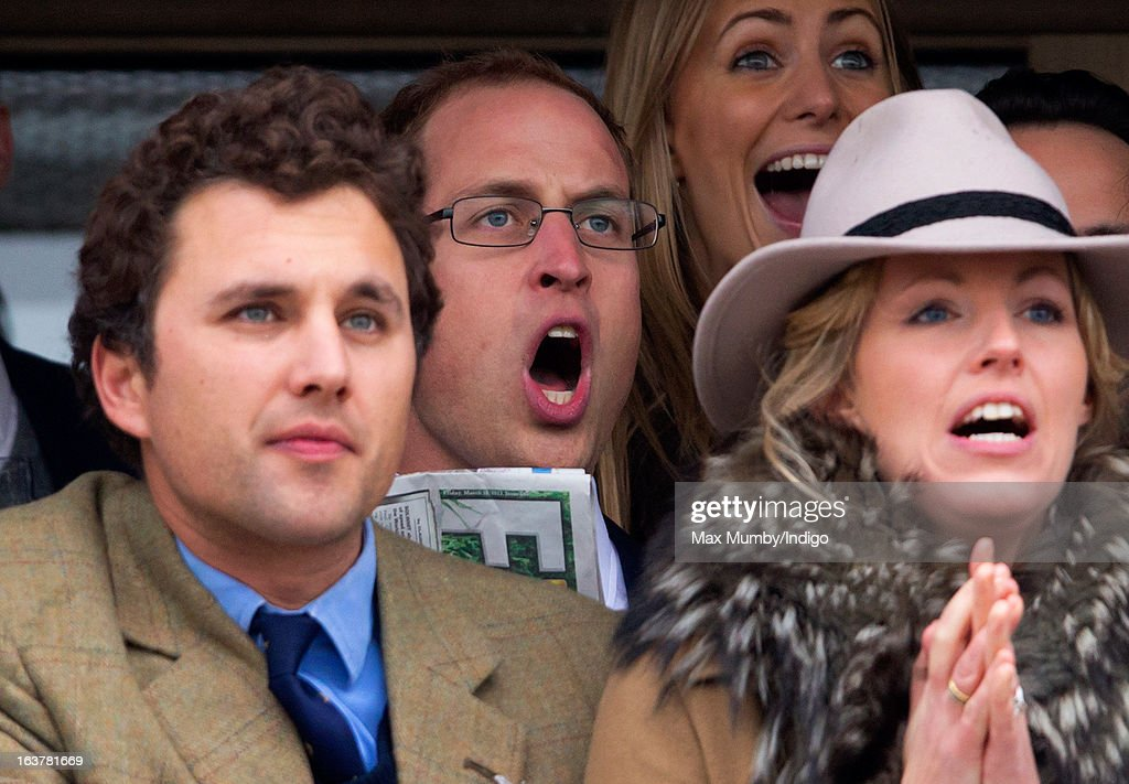 Thomas van Straubenzee, Prince William, Duke of Cambridge and Marina Fogle watch the racing as they attend Day 4 of The Cheltenham Festival at Cheltenham Racecourse on March 15, 2013 in London, England.