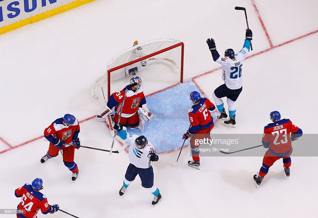 Thomas Vanek #26 of Team Europe reacts to a goal next to Petr Mrazek #34 of Team Czech Republic during the World Cup of Hockey at the Air Canada Center on September 19, 2016 in Toronto, Canada. Team Europe won the game 3-2 in overtime.