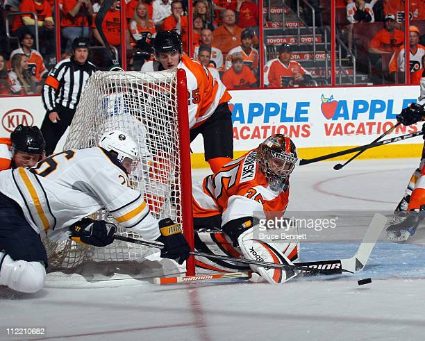 Thomas Vanek of the Buffalo Sabres attempts a wrap around against Sergei Bobrovsky of the Philadelphia Flyers in Game One of the Eastern Conference...