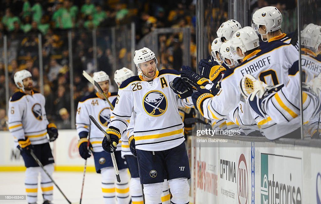 <a gi-track='captionPersonalityLinkClicked' href=/galleries/search?phrase=Thomas+Vanek&family=editorial&specificpeople=570606 ng-click='$event.stopPropagation()'>Thomas Vanek</a> #26 of the Buffalo Sabres celebrate a goal against the Boston Bruins at the TD Garden on January 31, 2013 in Boston, Massachusetts.