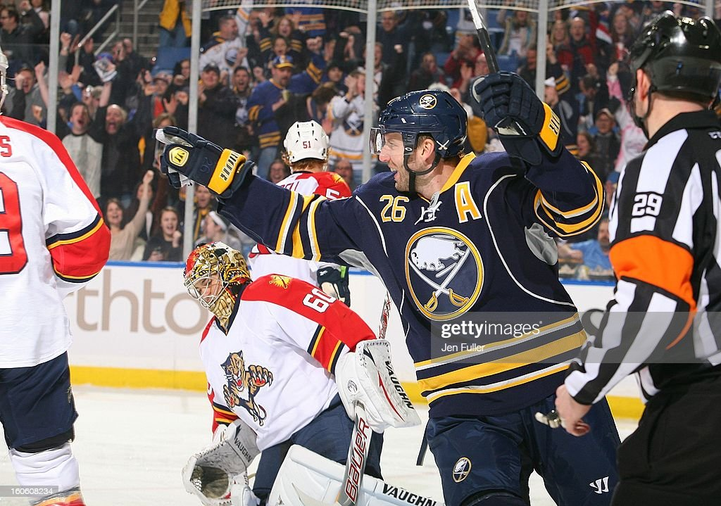Thomas Vanek #26 of the Buffalo Sabres celebrates his first-period goal against goaltender Jose Theodore #60 of the Florida Panthers on February 3, 2013 at the First Niagara Center in Buffalo, New York.