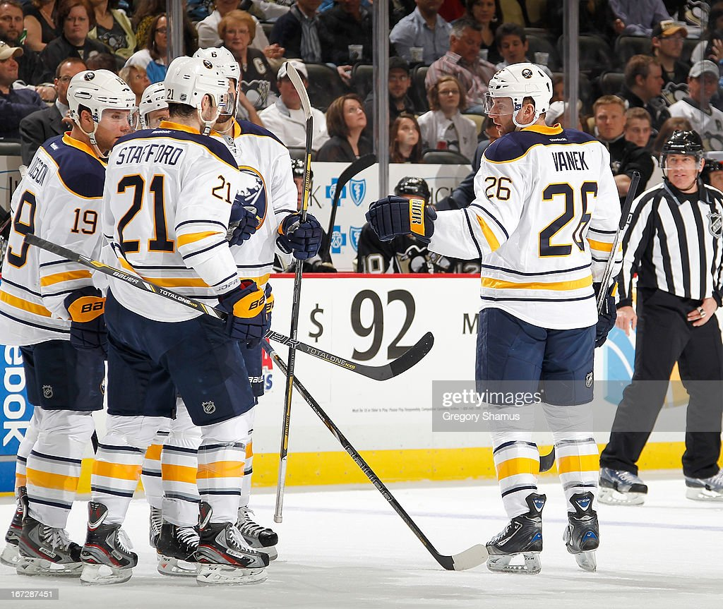 Thomas Vanek #26 of the Buffalo Sabres celebrates his goal with teammates during the first period against the Pittsburgh Penguins on April 23, 2013 at Consol Energy Center in Pittsburgh, Pennsylvania.
