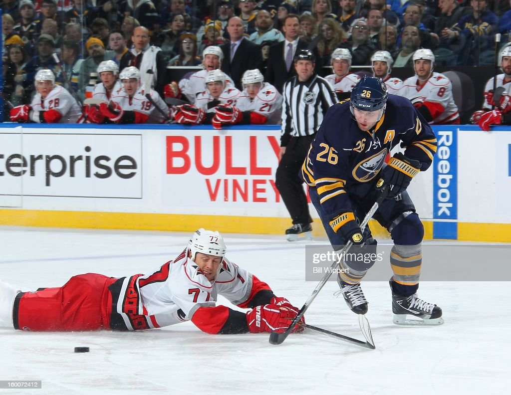 <a gi-track='captionPersonalityLinkClicked' href=/galleries/search?phrase=Thomas+Vanek&family=editorial&specificpeople=570606 ng-click='$event.stopPropagation()'>Thomas Vanek</a> #26 of the Buffalo Sabres has the puck taken away by the diving <a gi-track='captionPersonalityLinkClicked' href=/galleries/search?phrase=Joe+Corvo&family=editorial&specificpeople=206339 ng-click='$event.stopPropagation()'>Joe Corvo</a> #77 of the Carolina Hurricanes on January 25, 2013 at the First Niagara Center in Buffalo, New York.