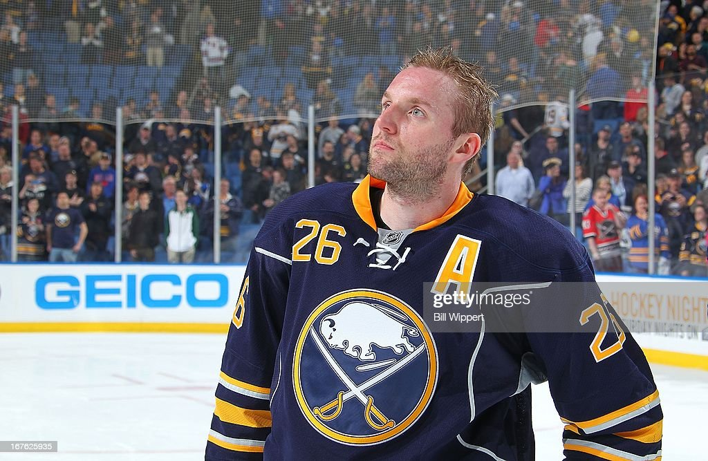 Thomas Vanek #26 of the Buffalo Sabres looks into the crowd after a 2-1 shootout victory over the New York Islanders on April 26, 2013 at the First Niagara Center in Buffalo, New York.