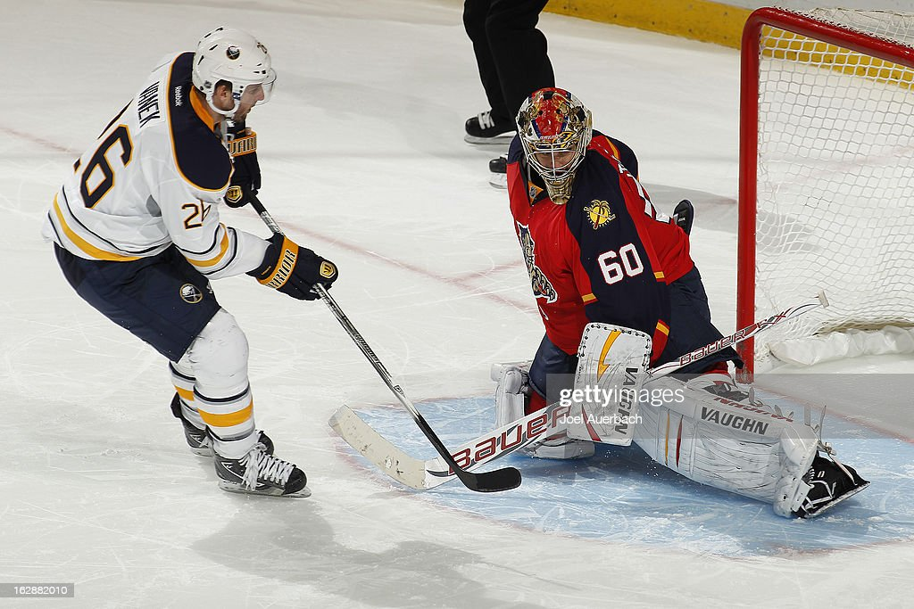 <a gi-track='captionPersonalityLinkClicked' href=/galleries/search?phrase=Thomas+Vanek&family=editorial&specificpeople=570606 ng-click='$event.stopPropagation()'>Thomas Vanek</a> #26 of the Buffalo Sabres scores the winning goal in overtime against goaltender <a gi-track='captionPersonalityLinkClicked' href=/galleries/search?phrase=Jose+Theodore&family=editorial&specificpeople=202011 ng-click='$event.stopPropagation()'>Jose Theodore</a> #60 of the Florida Panthers at the BB&T Center on February 28, 2013 in Sunrise, Florida. The sabers defeated the Panthers 4-3 in a shootout.