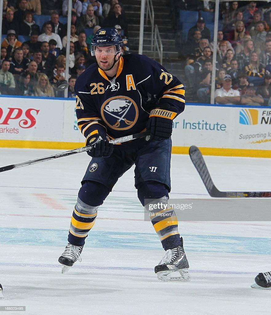 Thomas Vanek #26 of the Buffalo Sabres skates against the New York Islanders on April 26, 2013 at the First Niagara Center in Buffalo, New York.