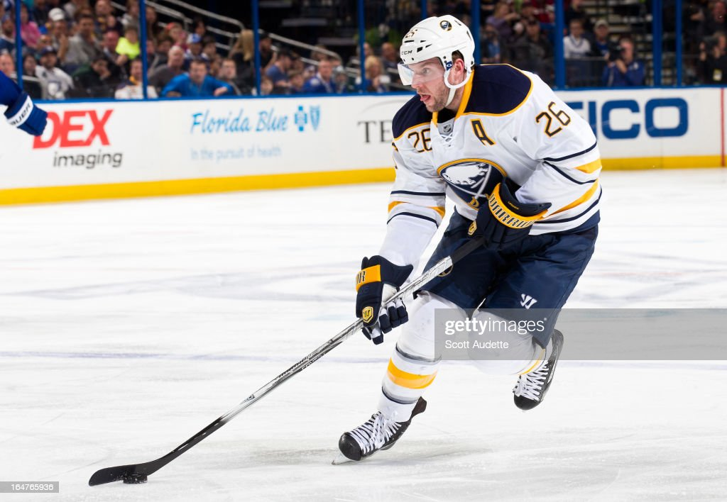 Thomas Vanek #26 of the Buffalo Sabres skates the puck during the second period of the game against the Tampa Bay Lightning at the Tampa Bay Times Forum on March 26, 2013 in Tampa, Florida.