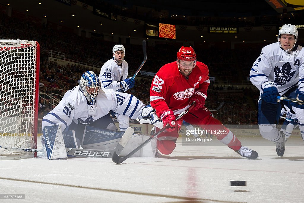Thomas Vanek #62 of the Detroit Red Wings battles for the puck with Matt Hunwick #2 of the Toronto Maple Leafs in front of goaltender Frederik Andersen #31 of the Leafs during an NHL game at Joe Louis Arena on January 25, 2017 in Detroit, Michigan. The Leafs defeated the Wings 4-0.