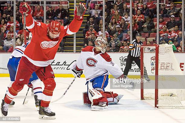 Thomas Vanek of the Detroit Red Wings celebrates a second period goal on Carey Price of the Montreal Canadiens during an NHL game at Joe Louis Arena...