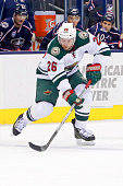 Thomas Vanek of the Minnesota Wild controls the puck during the game against the Columbus Blue Jackets on December 31 2014 at Nationwide Arena in...