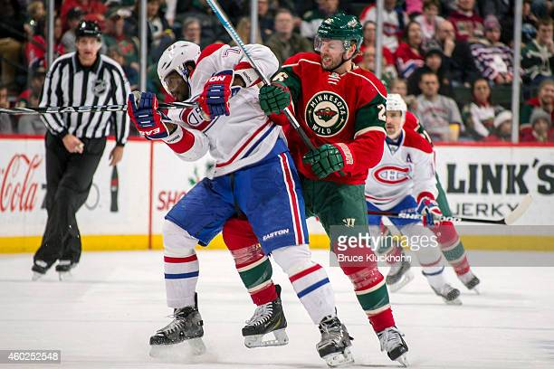 Thomas Vanek of the Minnesota Wild defends PK Subban of the Montreal Canadiens during the game on December 3 2014 at the Xcel Energy Center in St...
