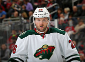 Thomas Vanek of the Minnesota Wild looks on before a face off in the third period against the New Jersey Devils on November 11 2014 at the Prudential...