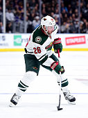 Thomas Vanek of the Minnesota Wild prepares to take a shot during the game against the Los Angeles Kings at Staples Center on October 16 2015 in Los...