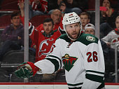 Thomas Vanek of the Minnesota Wild skates against the New Jersey Devils at the Prudential Center on March 17 2016 in Newark New Jersey The Devils...