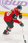 Thomas Vanek of the Minnesota Wild skates with the puck against the Arizona Coyotes during the game on October 23 2014 at the Xcel Energy Center in...
