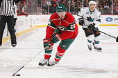 Thomas Vanek of the Minnesota Wild skates with the puck against the San Jose Sharks during the game on October 30 2014 at the Xcel Energy Center in...