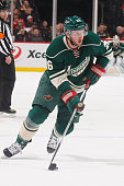 Thomas Vanek of the Minnesota Wild skates with the puck against the Chicago Blackhawks during the game on January 8 2015 at the Xcel Energy Center in...