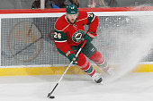 Thomas Vanek of the Minnesota Wild skates with the puck against the Columbus Blue Jackets during the game on October 22 2015 at the Xcel Energy...
