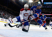 Thomas Vanek of the Montreal Canadiens and Ryan McDonagh of the New York Rangers battle for position during Game Six of the Eastern Conference Final...