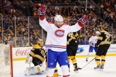 Thomas Vanek of the Montreal Canadiens celebrates his goal against the Boston Bruins in Game Two of the Second Round of the 2014 Stanley Cup Playoffs...