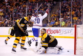 Thomas Vanek of the Montreal Canadiens celebrates his goal in the second period in front of Tuukka Rask of the Boston Bruins in Game Two of the...