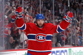 Thomas Vanek of the Montreal Canadiens celebrates his secondperiod goal against the Boston Bruins in Game Six of the Second Round of the 2014 NHL...