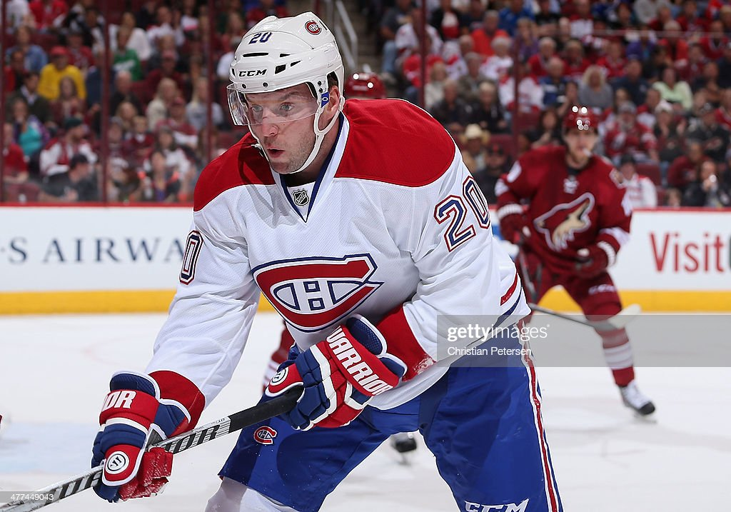 <a gi-track='captionPersonalityLinkClicked' href=/galleries/search?phrase=Thomas+Vanek&family=editorial&specificpeople=570606 ng-click='$event.stopPropagation()'>Thomas Vanek</a> #20 of the Montreal Canadiens during the NHL game against the Phoenix Coyotes at Jobing.com Arena on March 6, 2014 in Glendale, Arizona. The Coyotes defeated the Canadiens 5-2.