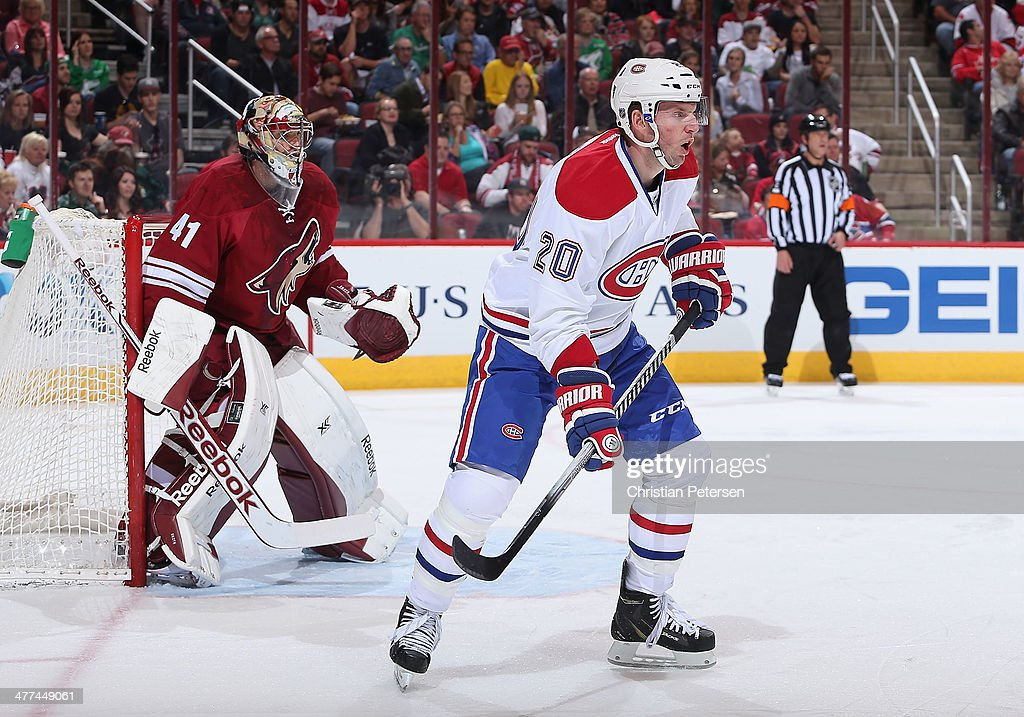 <a gi-track='captionPersonalityLinkClicked' href=/galleries/search?phrase=Thomas+Vanek&family=editorial&specificpeople=570606 ng-click='$event.stopPropagation()'>Thomas Vanek</a> #20 of the Montreal Canadiens in action during the NHL game against the Phoenix Coyotes at Jobing.com Arena on March 6, 2014 in Glendale, Arizona. The Coyotes defeated the Canadiens 5-2.