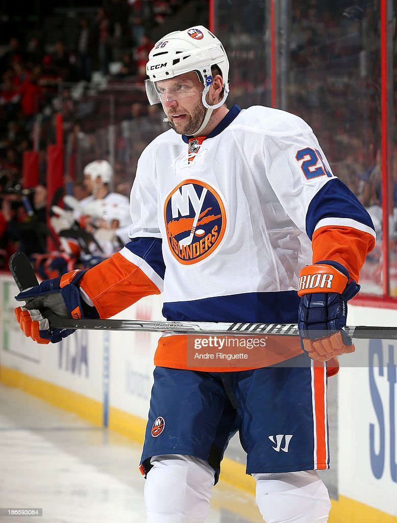 <a gi-track='captionPersonalityLinkClicked' href=/galleries/search?phrase=Thomas+Vanek&family=editorial&specificpeople=570606 ng-click='$event.stopPropagation()'>Thomas Vanek</a> #26 of the New York Islanders looks on during a stoppage in play against the Ottawa Senators at Canadian Tire Centre on November 1, 2013 in Ottawa, Ontario, Canada.