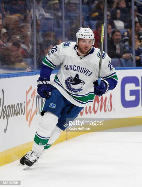 Thomas Vanek of the Vancouver Canucks during the game against the Buffalo Sabres at the KeyBank Center on October 20 2017 in Buffalo New York