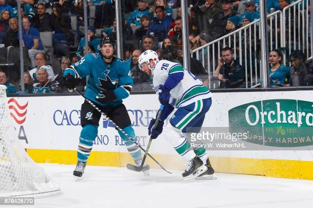 Thomas Vanek of the Vancouver Canucks skates against MarcEdouard Vlasic of the San Jose Sharks at SAP Center on November 11 2017 in San Jose...