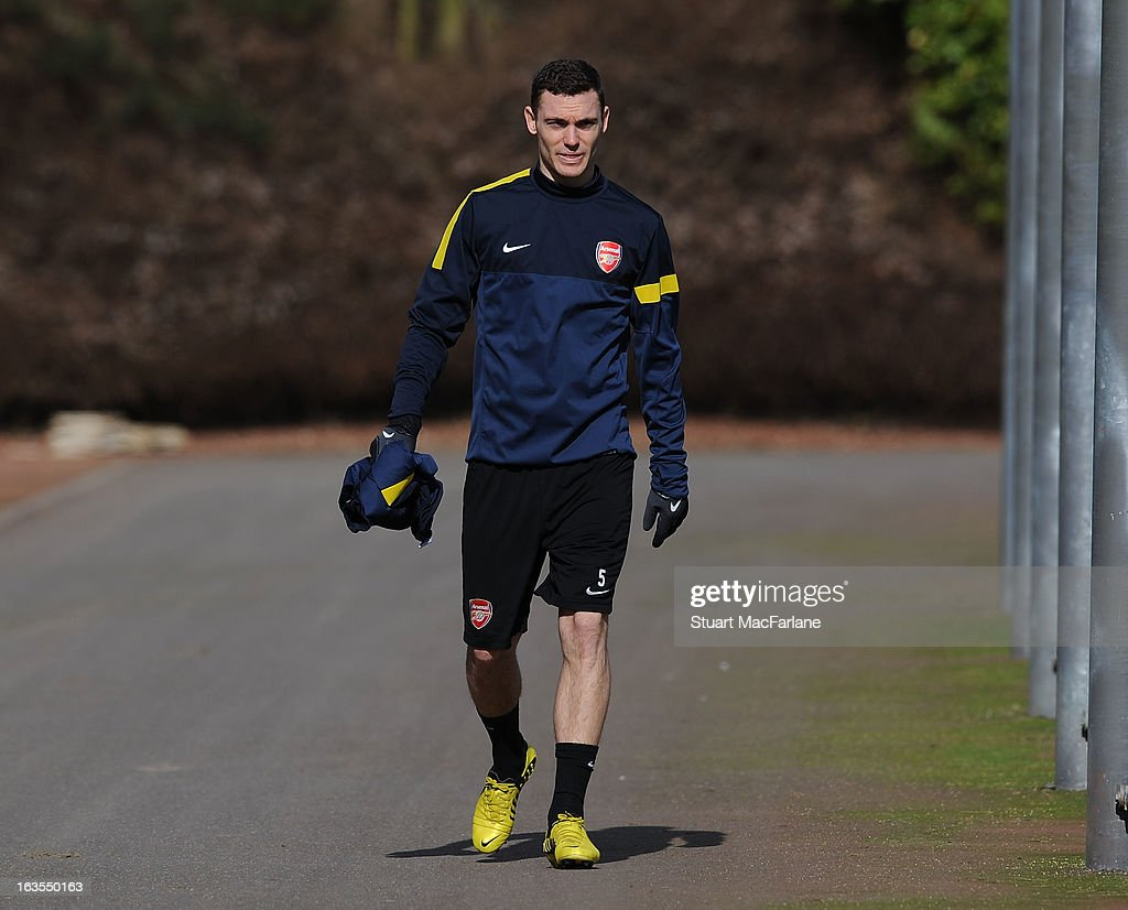 Thomas Verlmaelen of Arsenal before a training session at London Colney on March 12, 2013 in St Albans, England.