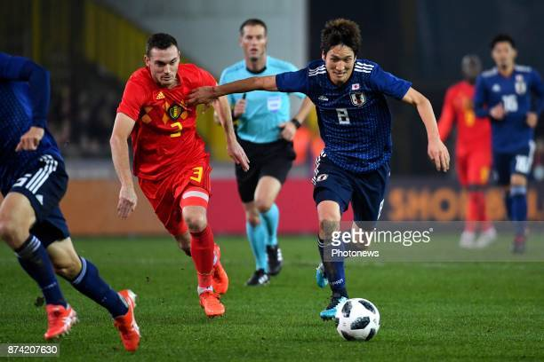 Thomas Vermaelen defender of Belgium Haraguchi Genki forward of Japan during the World Cup Friendly Preparation match between Belgium and Japan on...
