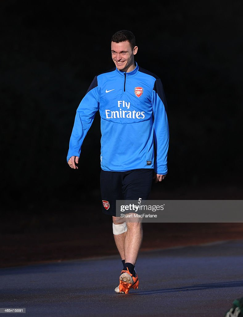 <a gi-track='captionPersonalityLinkClicked' href=/galleries/search?phrase=Thomas+Vermaelen&family=editorial&specificpeople=1360240 ng-click='$event.stopPropagation()'>Thomas Vermaelen</a> of Arsenal before a training session at London Colney on January 27, 2014 in St Albans, England.